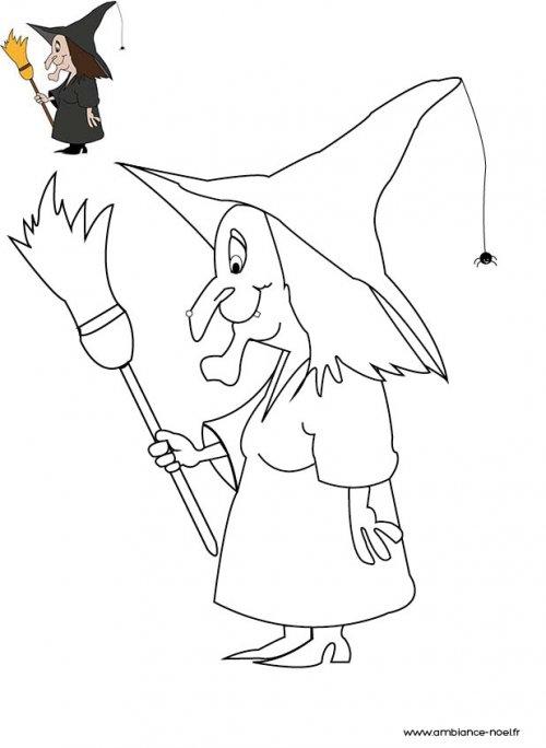Coloriage d'Halloween à imprimer pour les enfants, La sorcière