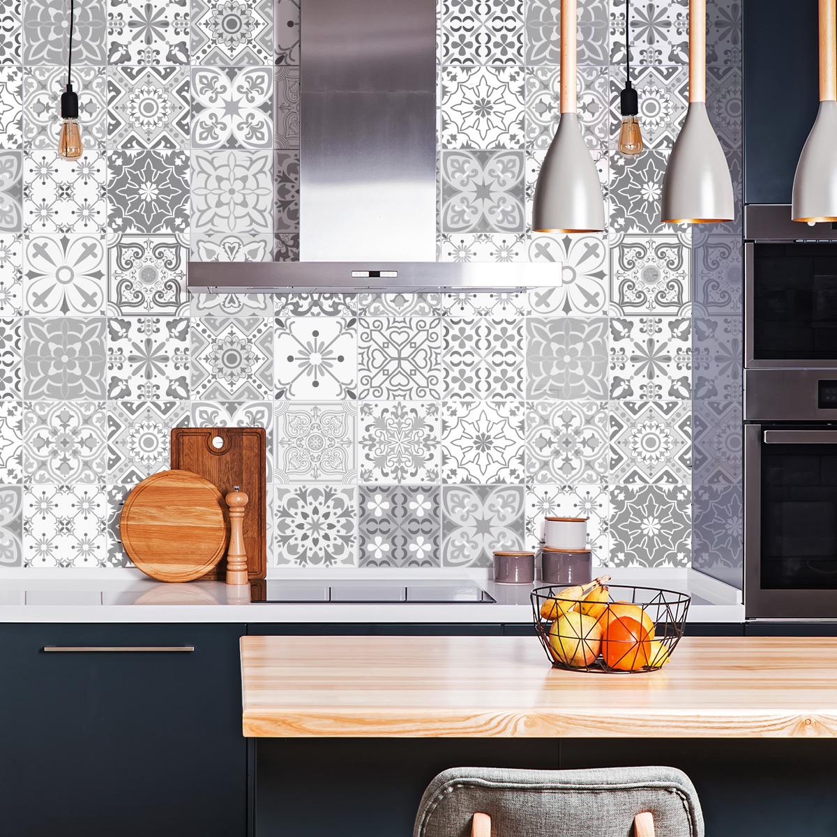24 stickers carreaux de ciment nuances de gris Gythio  SALLE DE BAIN ET WC Salle de bain