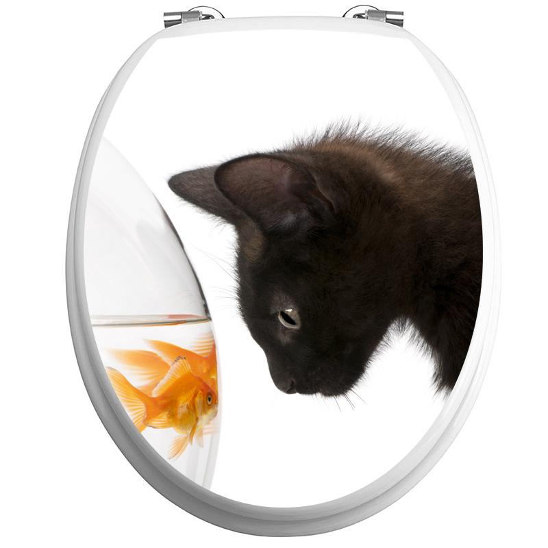 Sticker abattant wc chat noir et poisson dor  Stickers Toilettes Abattants wc  Ambiancesticker