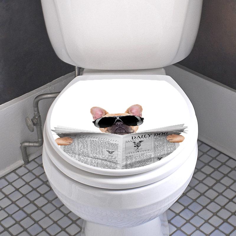 Sticker abattant wc chien avec un journal et lunettes de soleil  Stickers Toilettes Abattants