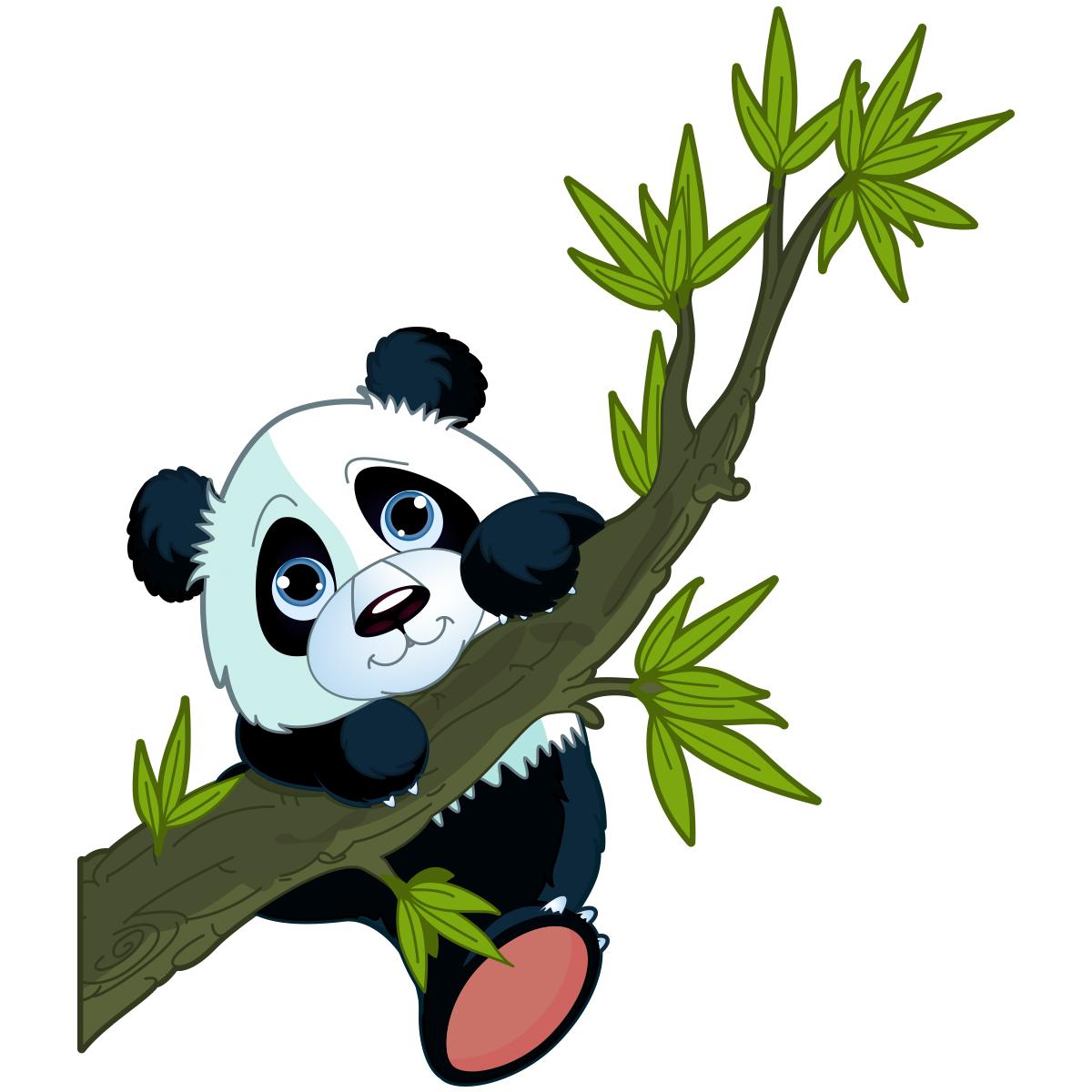 Sticker animal panda perch  Stickers Animaux Animaux de la jungle  Ambiancesticker