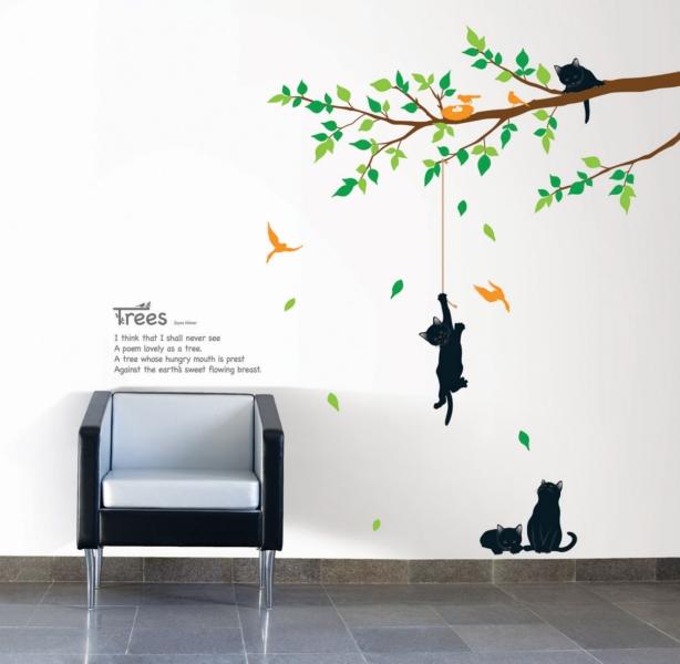 Stickers muraux fleurs  Sticker arbre et chats  Ambiance