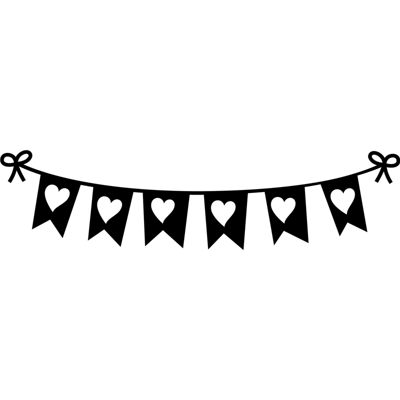 Sticker banderoles en coeurs  Stickers Filles Coeurs  Ambiancesticker