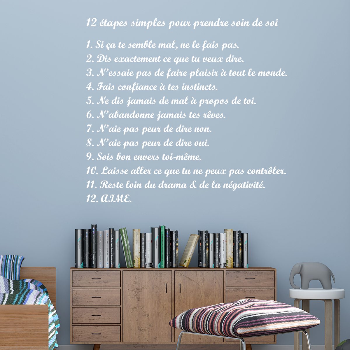 Sticker citation 12 tapes simple pour prendre soin de soi   Stickers STICKERS CITATIONS