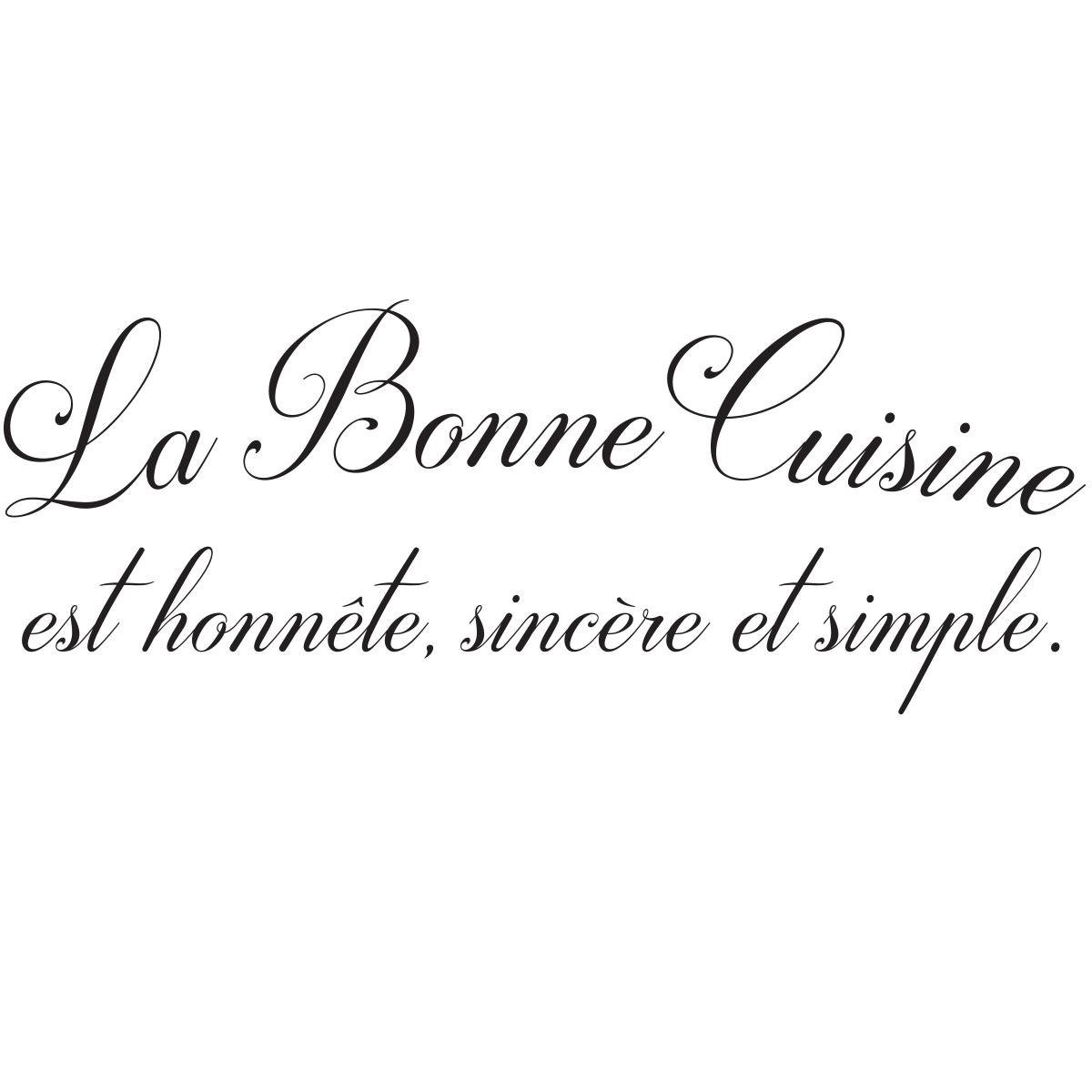 Sticker citation cuisine La Bonne Cuisine  Stickers STICKERS CITATIONS Franais  Ambiancesticker