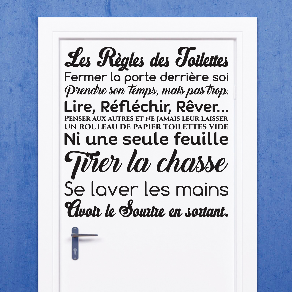 Sticker Citation Design Les Regles Des Toilettes Xml L