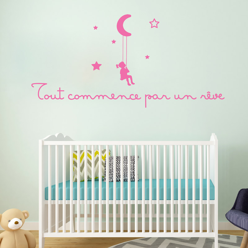 Sticker citation enfant Tout commence par un rve  Stickers Citations Franais  Ambiancesticker