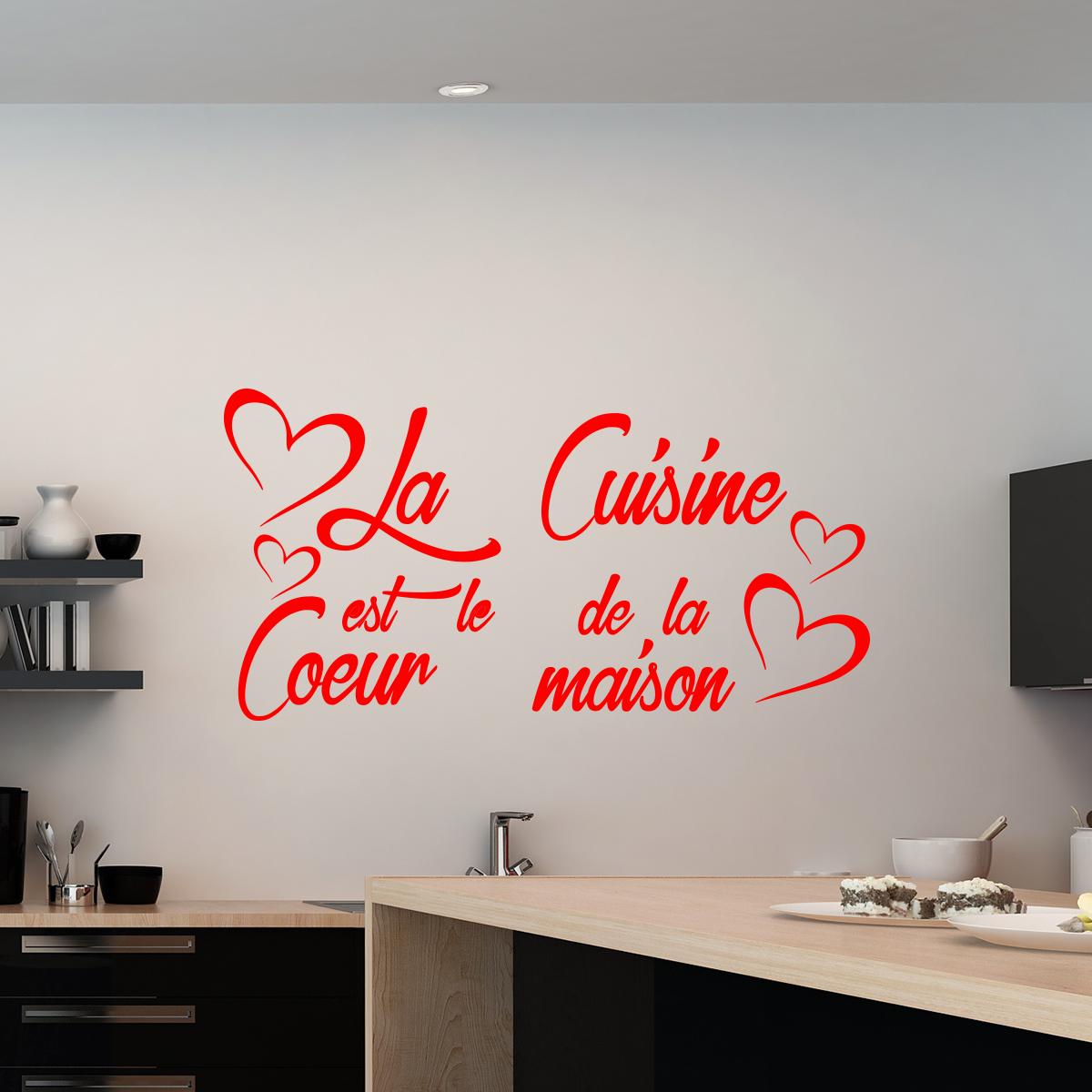 Sticker citation La cuisine est le coeur de la maison  stickers Citations Franais  ambiance