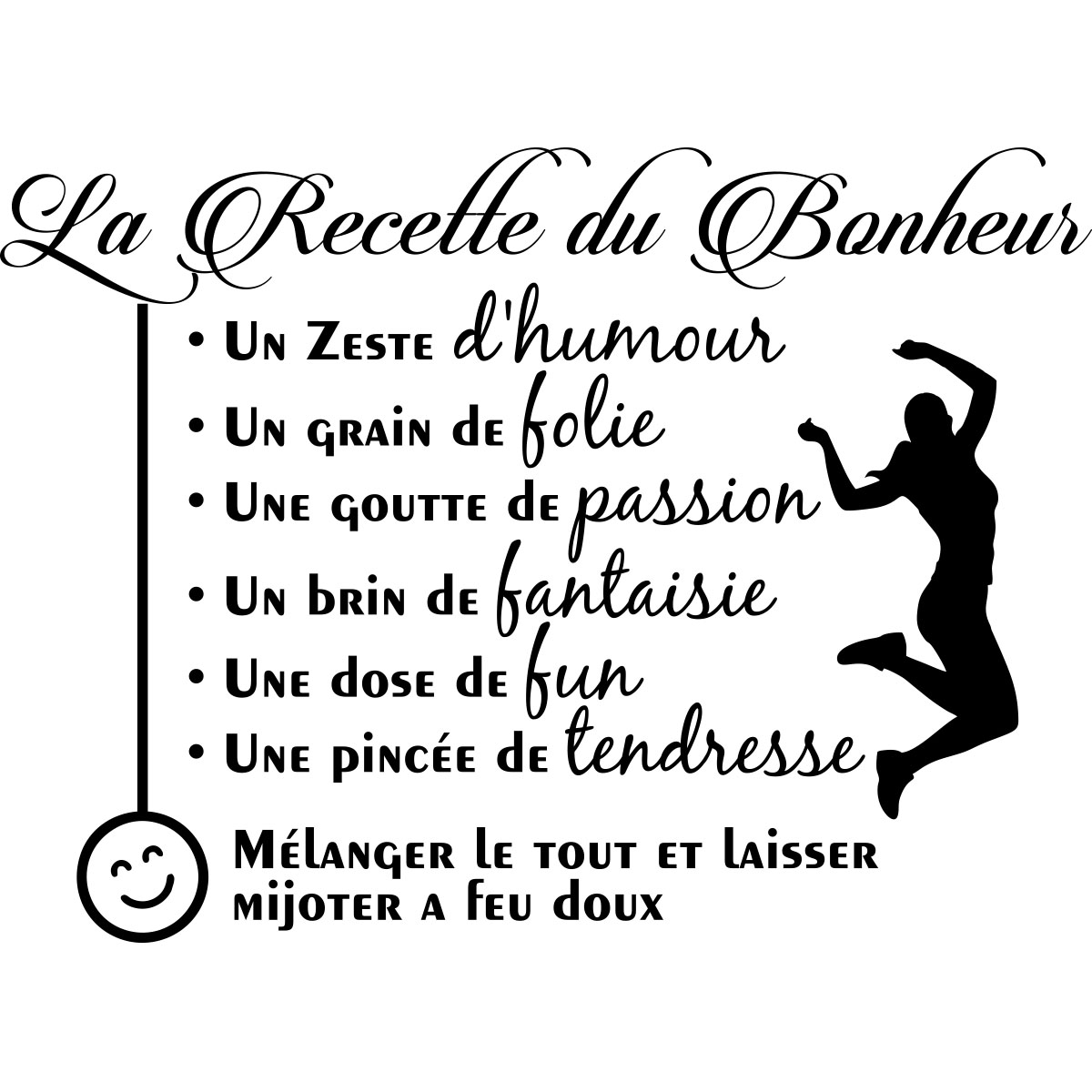 Sticker citation La recette du bonheur  Stickers CUISINE Recettes  Ambiancesticker