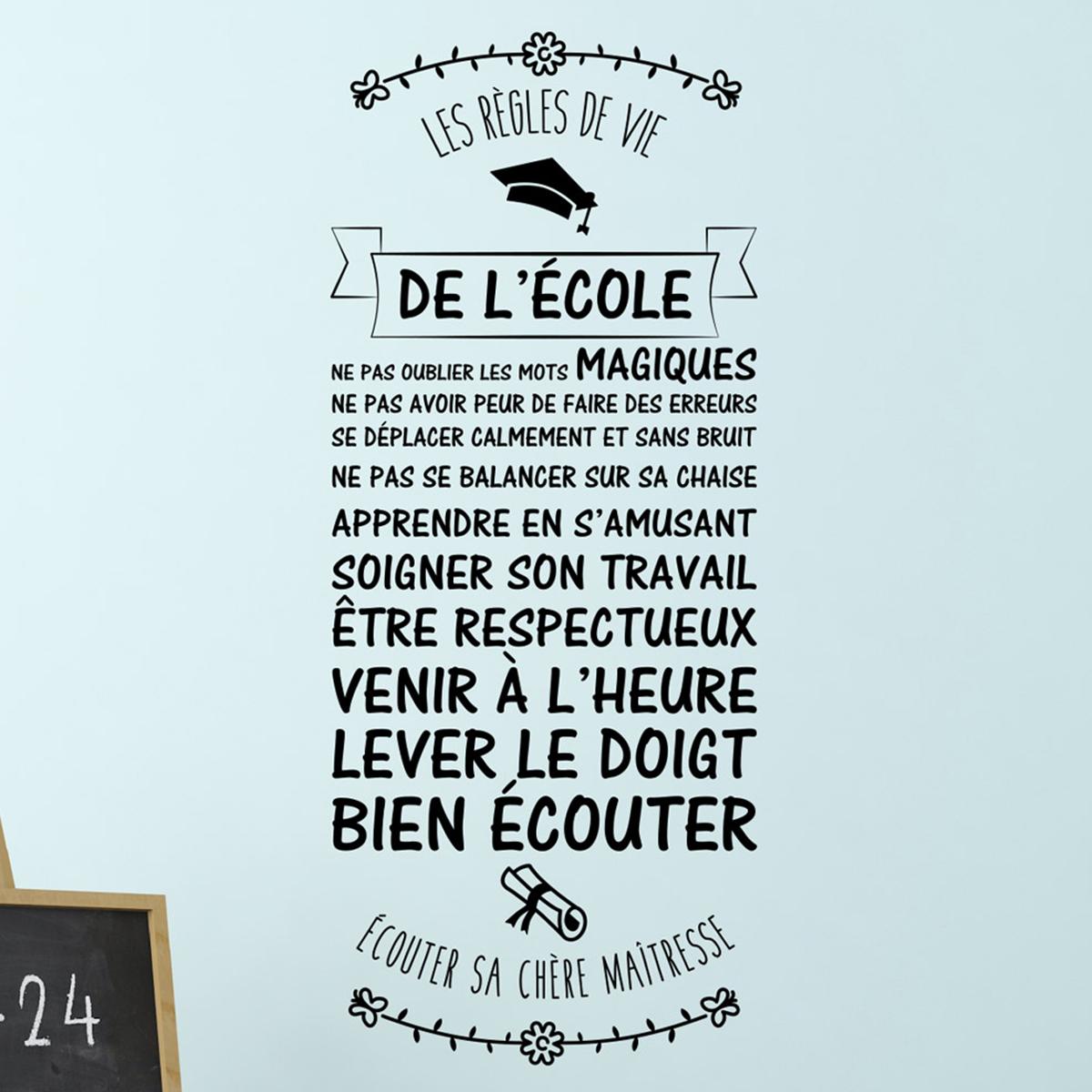 Sticker citation Les rgles de vie de lcole  Stickers STICKERS CITATIONS Franais  Ambiance