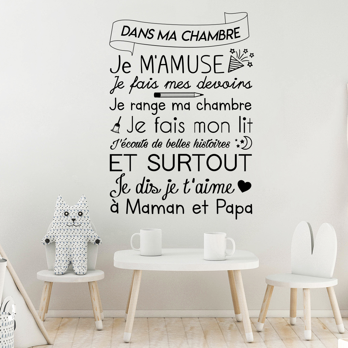 Sticker citation rgles dans ma chambre  Stickers STICKERS CITATIONS Franais  Ambiancesticker