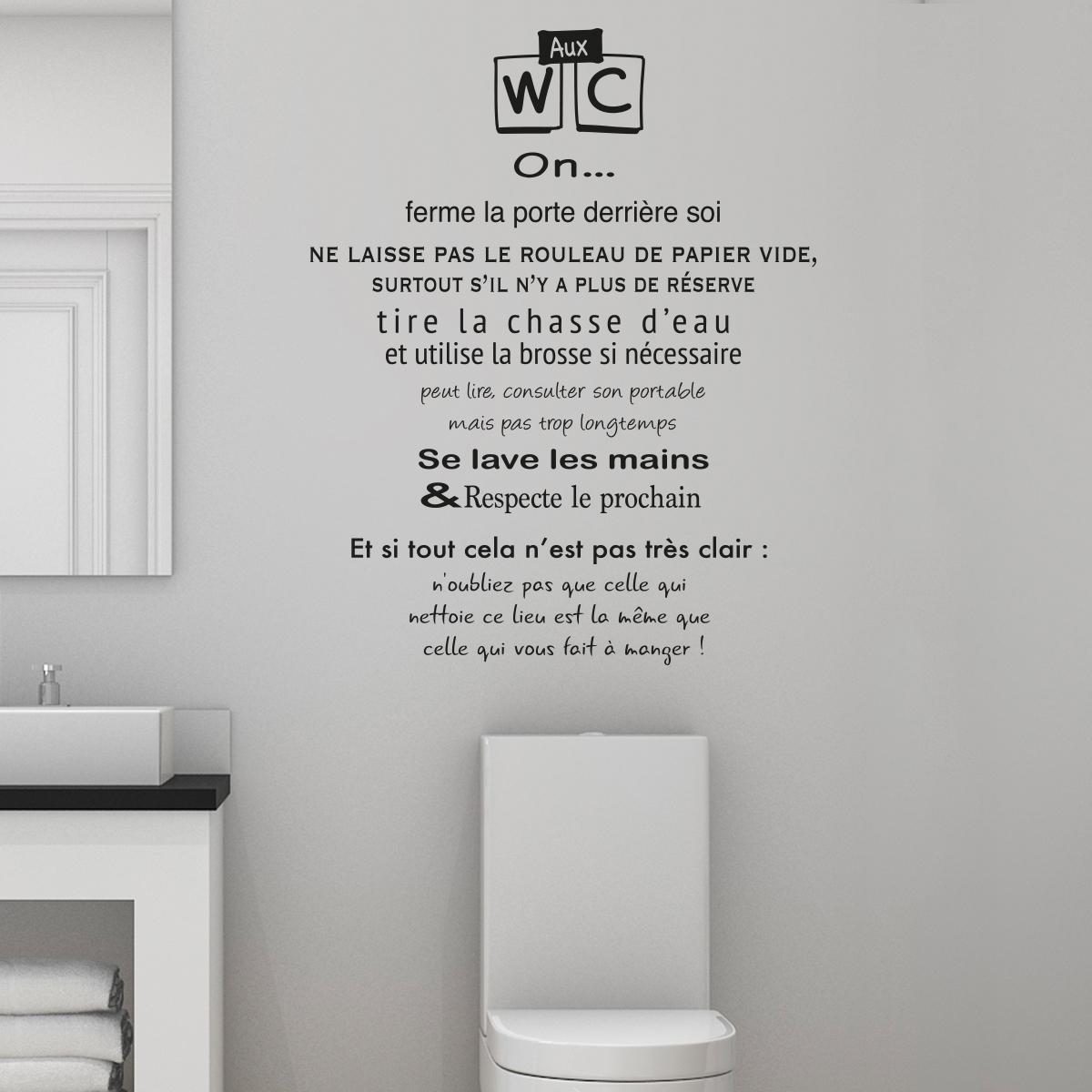 Sticker citation toilettes rgles des wc  Stickers Citations Franais  Ambiancesticker