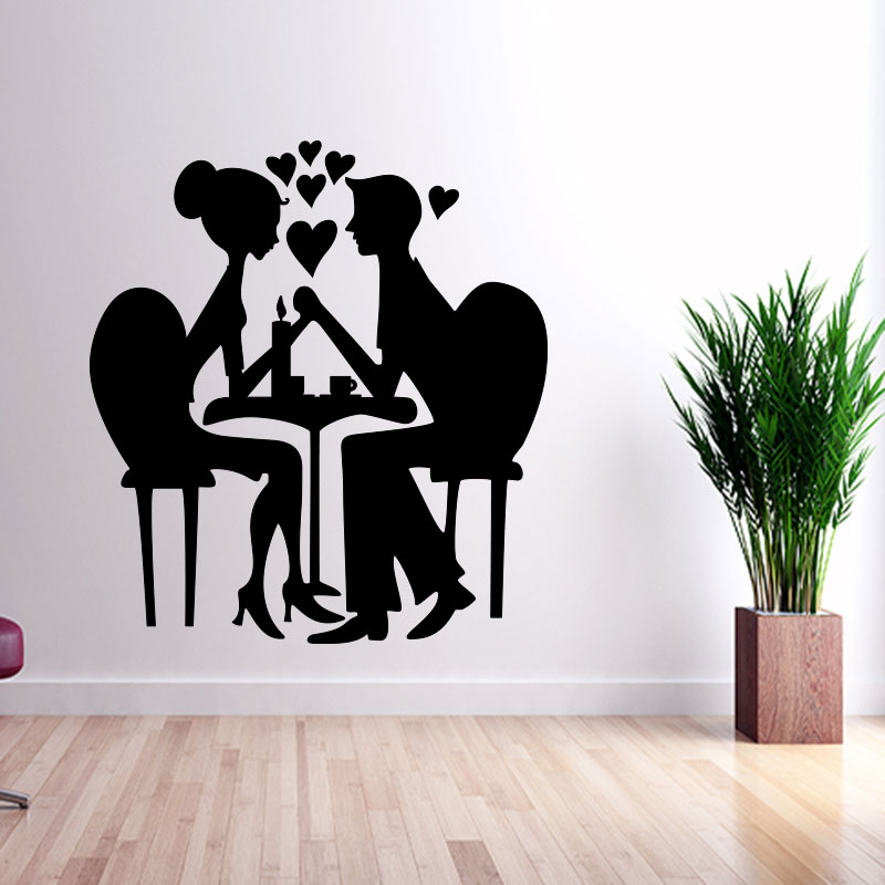 Sticker coeur couple amoureux silhouette  Stickers Chambre Amour  Ambiancesticker