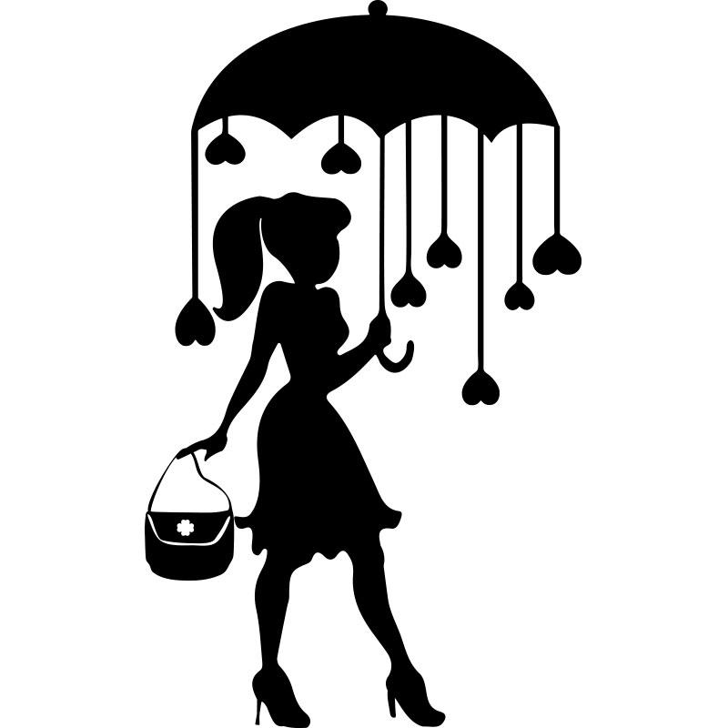 Sticker coeurs de parapluie  Stickers Filles Coeurs  ambiancesticker