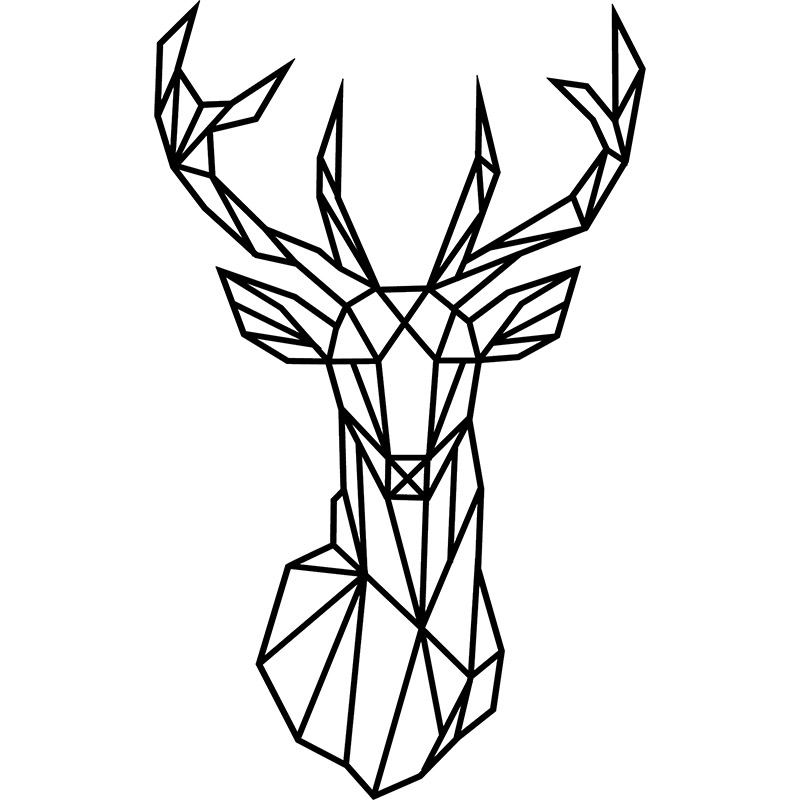 Sticker Design origami tête de cerf