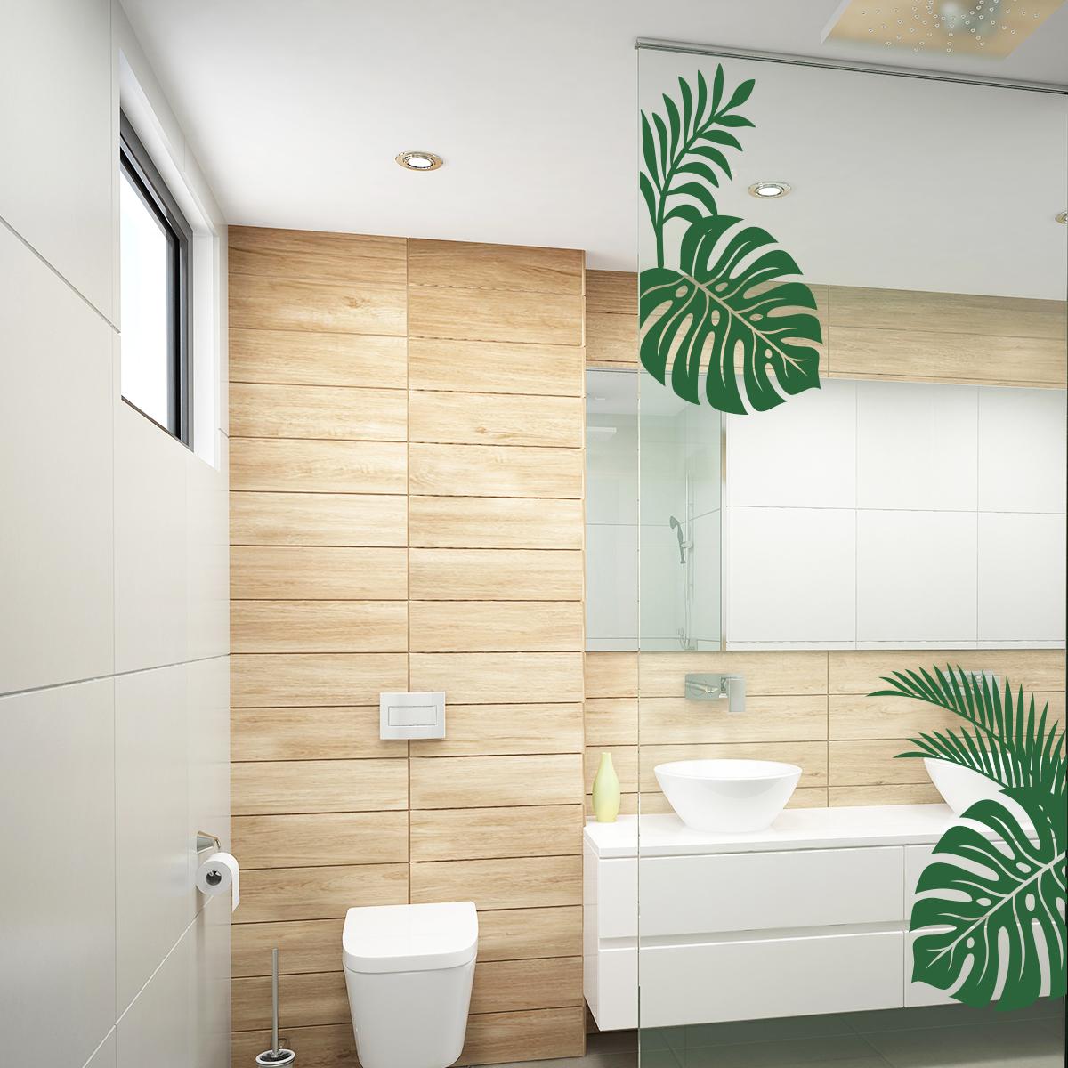 Stickers muraux pour salle de bain  Sticker mural feuilles tropicales  Ambiancestickercom