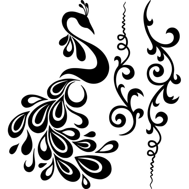 Sticker Fleurs céleste et son paon