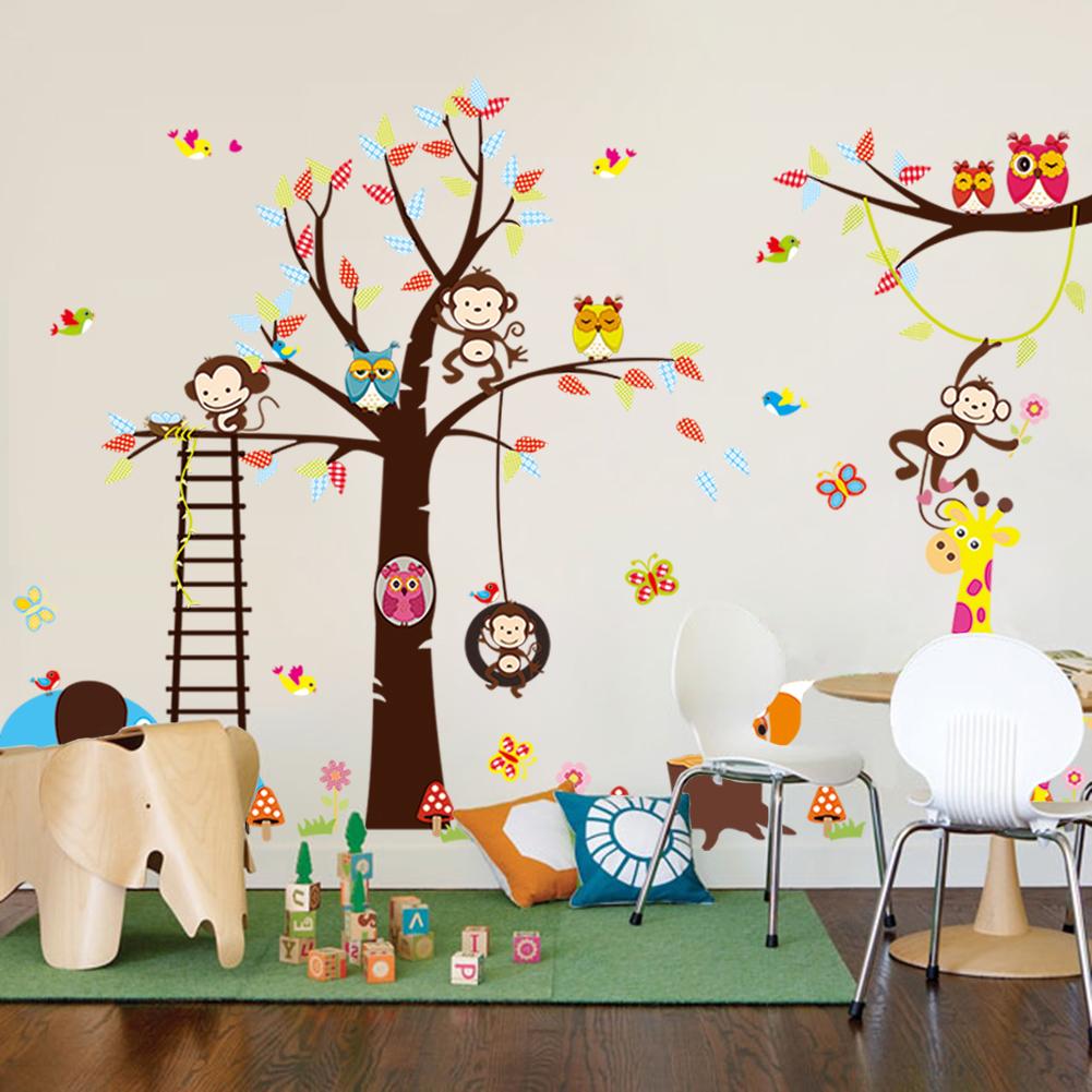 sticker geant pour enfant arbre singe girafe et oiseaux
