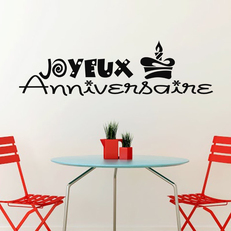 Sticker Joyeux anniversaire design  Stickers STICKERS CITATIONS Salon  ambiancesticker