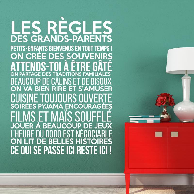 Sticker Les Rgles Des Grands Parents Stickers Citations