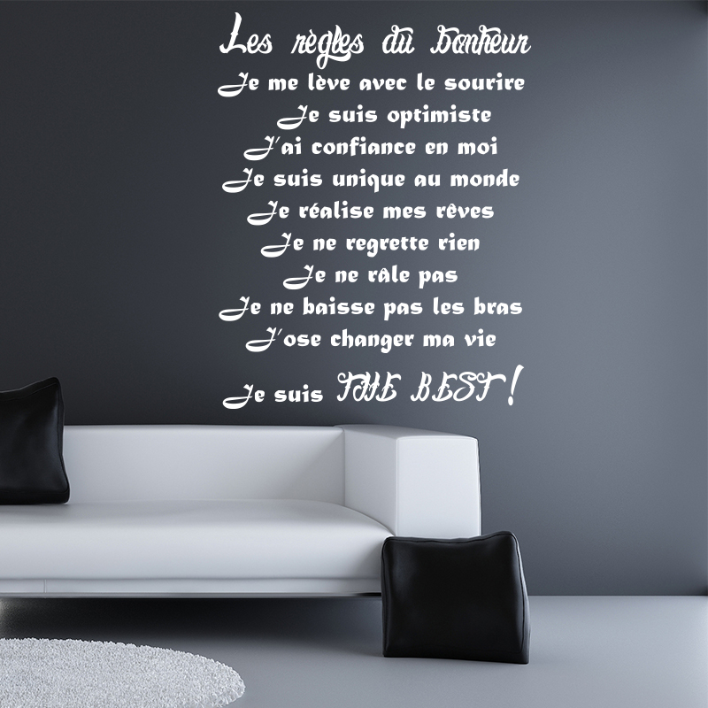 Sticker Les rgles du bonheur II  Stickers Citations Franais  Ambiancesticker
