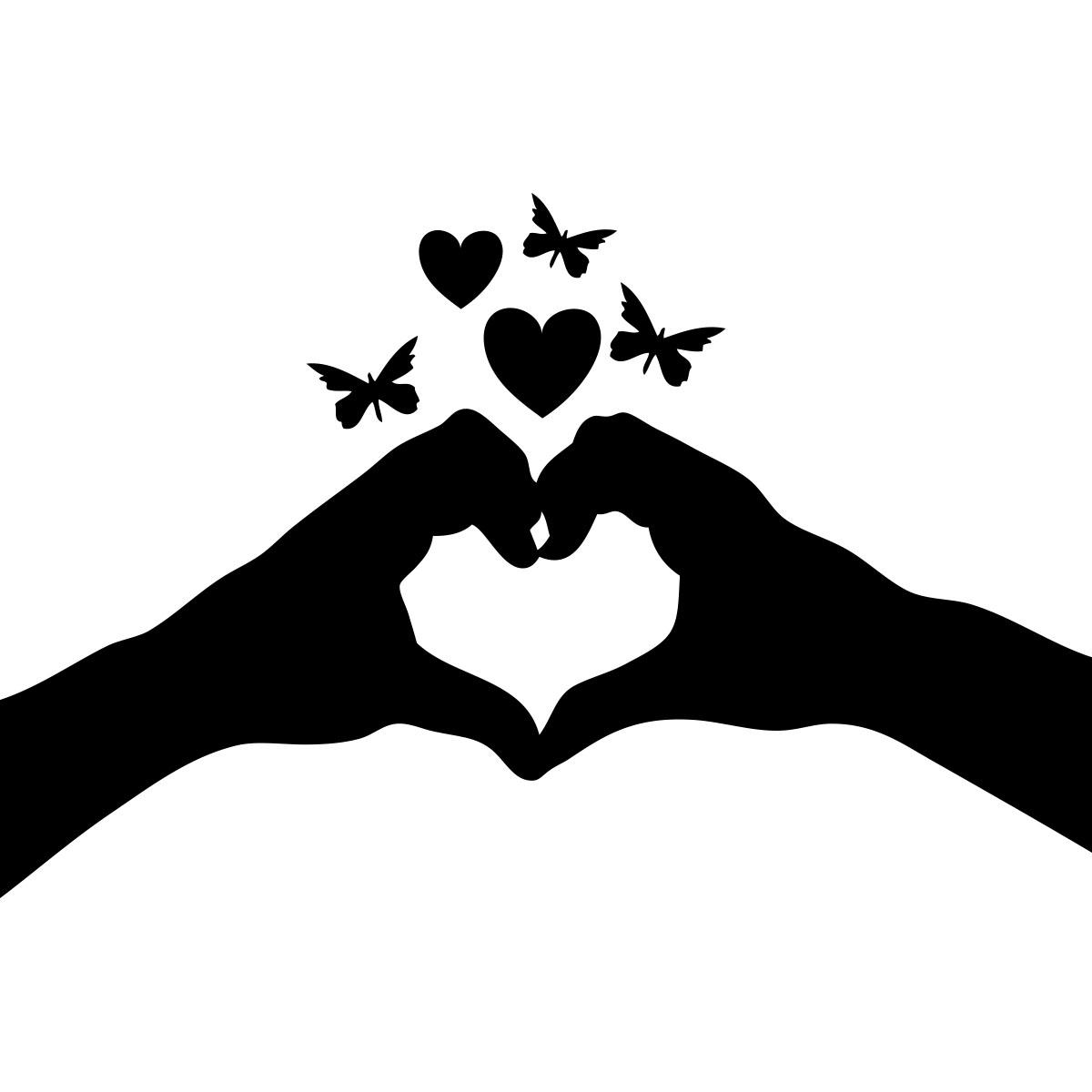 Sticker Mains de forme coeur et papillons  Mini stickers Animaux  ambiancesticker