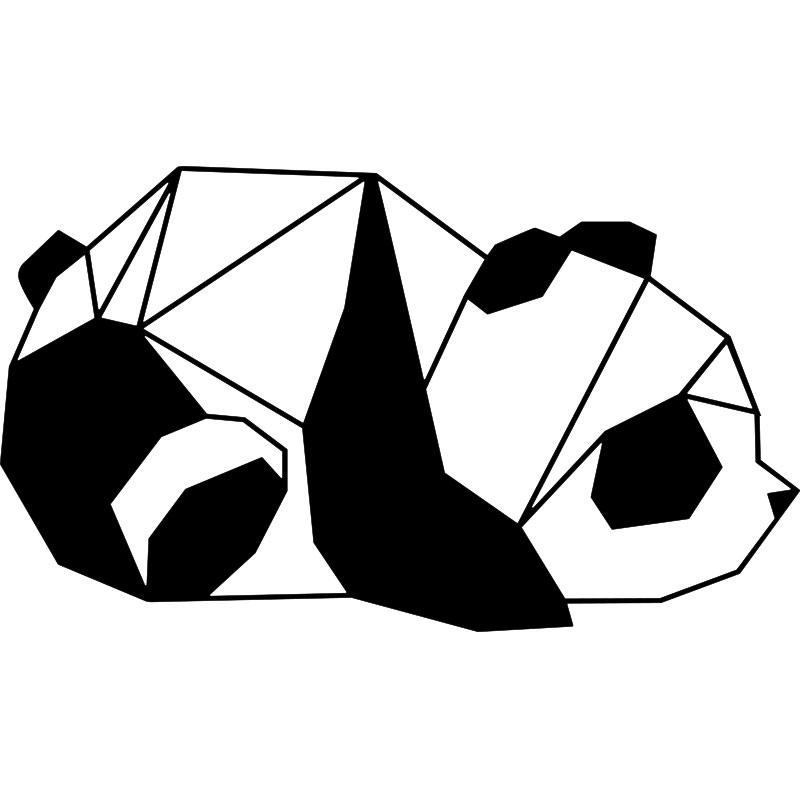 Sticker origami panda allongé