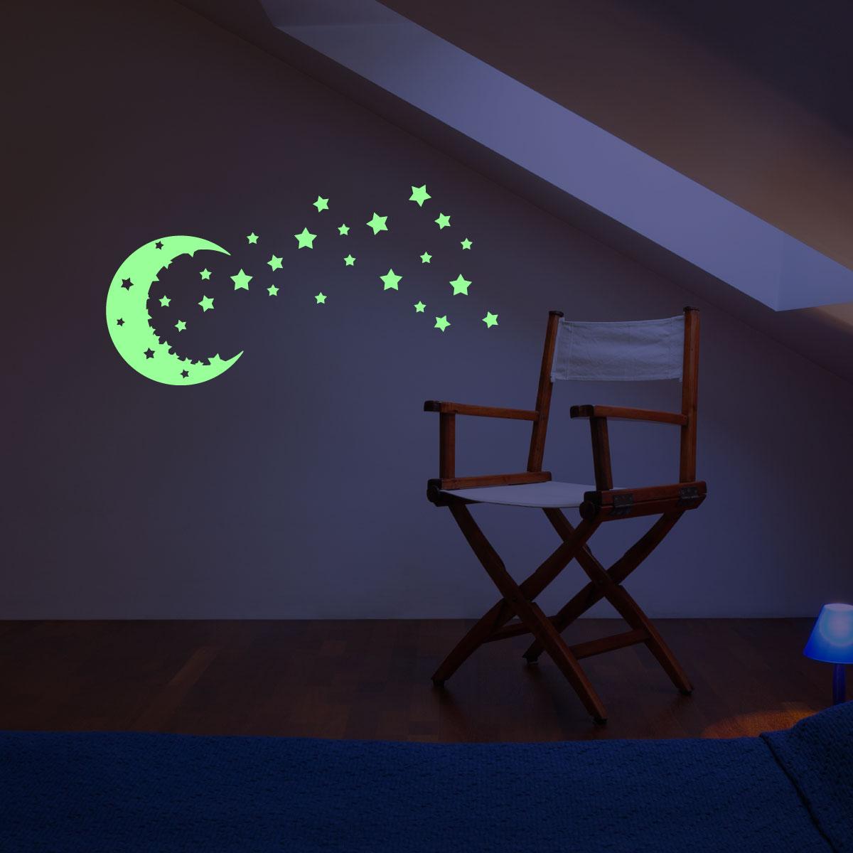 Sticker Phosphorescent Ciel toils et lune  Stickers CHAMBRE ENFANTS Phosphorescents