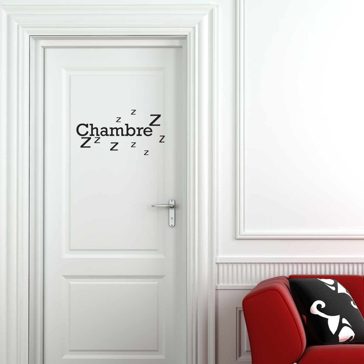 Sticker porte Chambre Zzz  Stickers Chambre Texte  Ambiancesticker