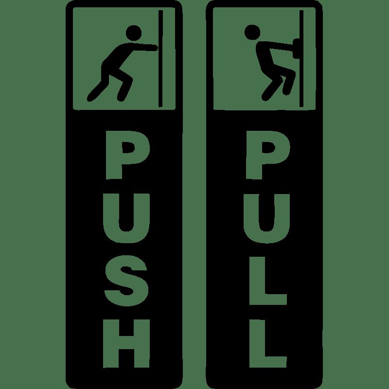 Sticker porte push pull  Stickers Toilettes Porte  ambiancesticker
