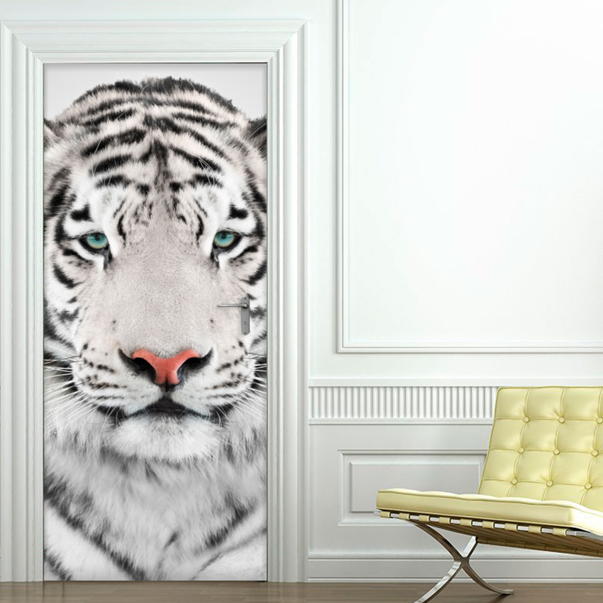 Sticker porte tigre blanc  Stickers Animaux Animaux de la jungle  Ambiancesticker