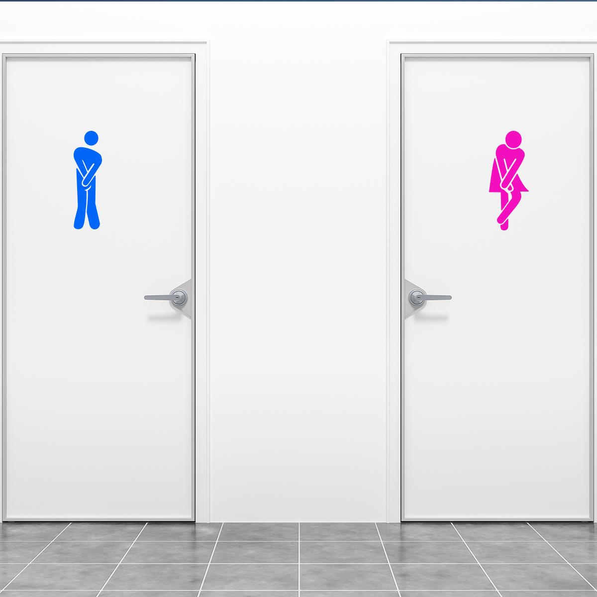 Sticker porte toilettes homme bleu et femme rose  Stickers SALLE DE BAIN ET WC Toilettes