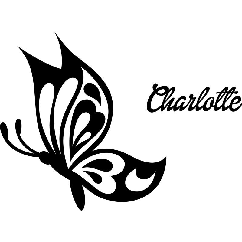 Sticker prnom personnalisable Papillon profil  CHAMBRE ENFANTS Prnoms  Ambiancesticker