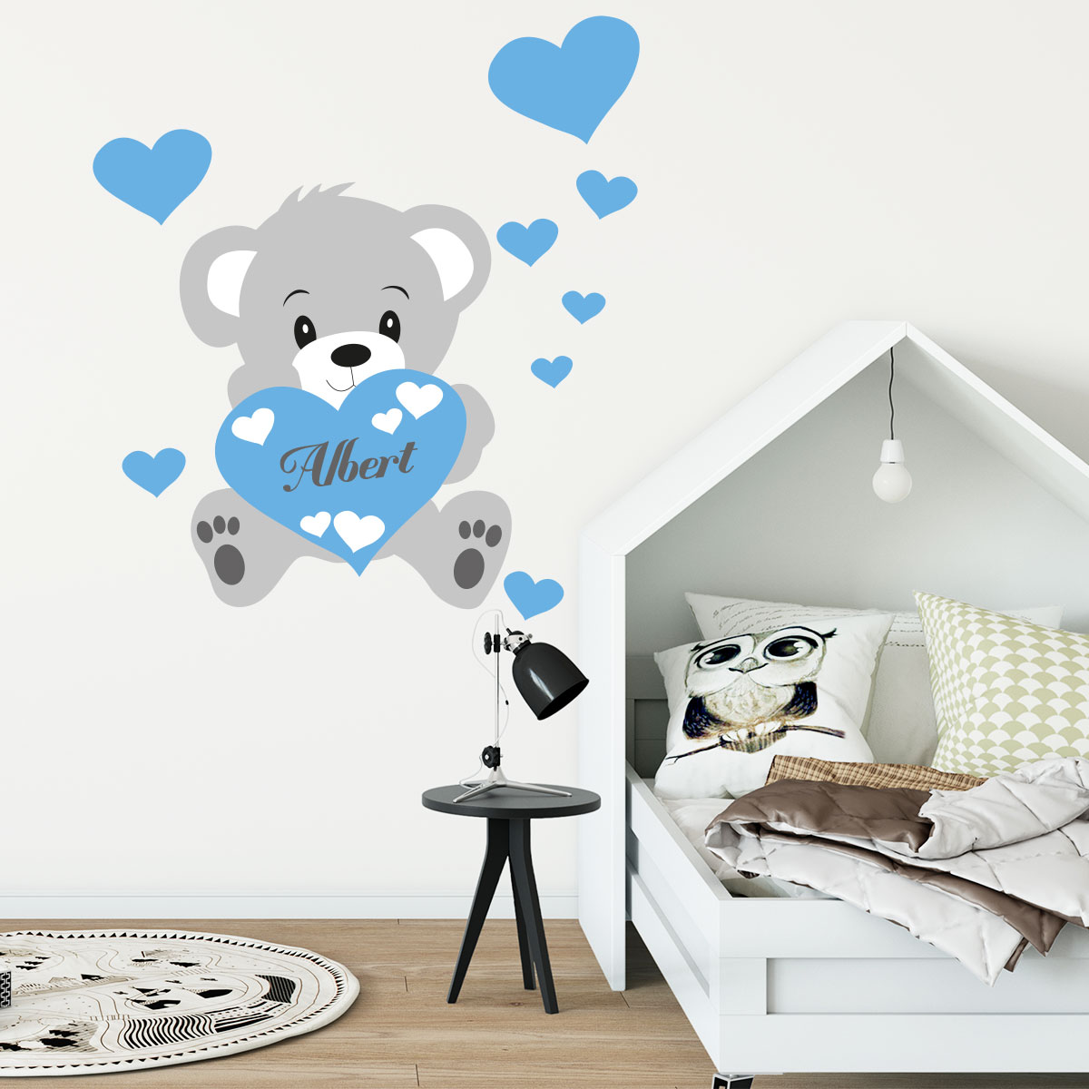 Sticker prnom personnalis ourson bleu  Stickers CHAMBRE ENFANTS Chambre Bb  Ambiancesticker