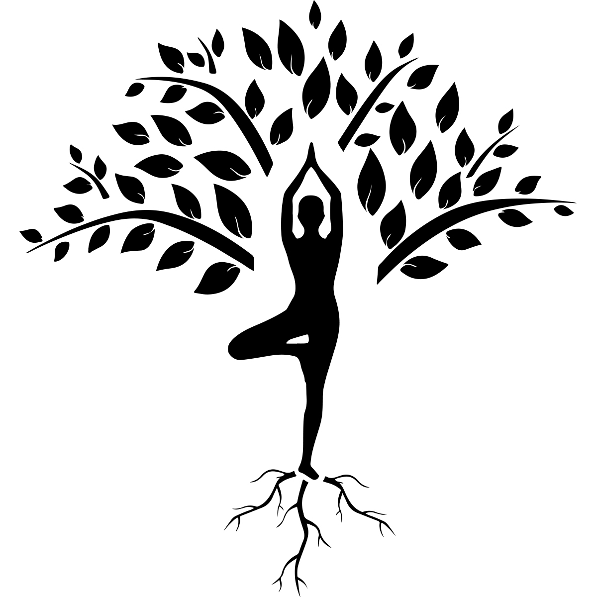 Sticker Yoga Arbre Et Silhouette Zen Stickers Stickers