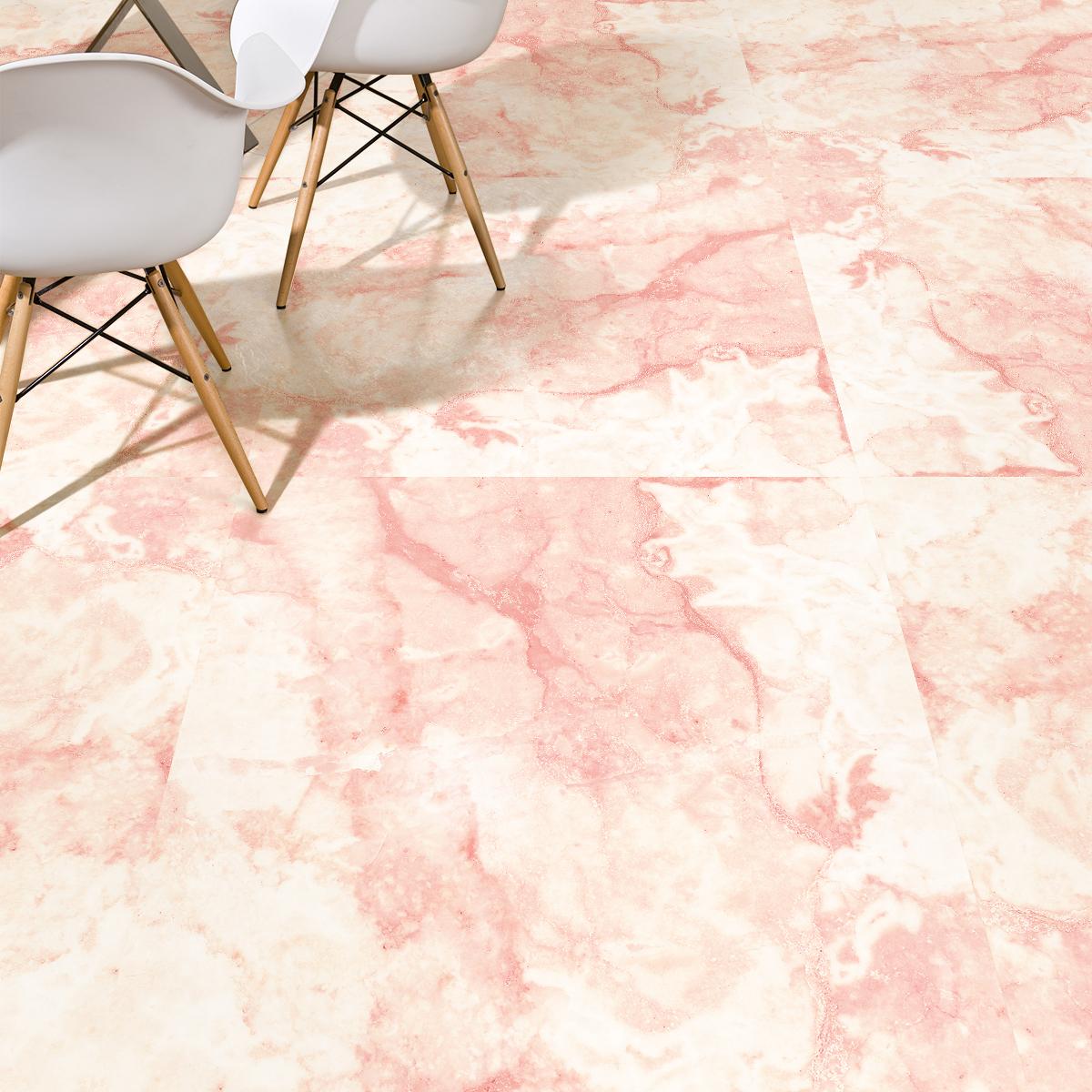 stickers sol marbre rose et dorures anti derapant