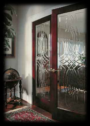 Interior doors  Glass doors  Etched textured and