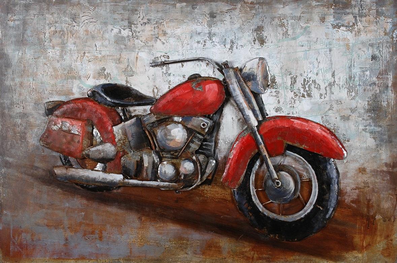 tableau moto art metal 3d harley davidson rouge