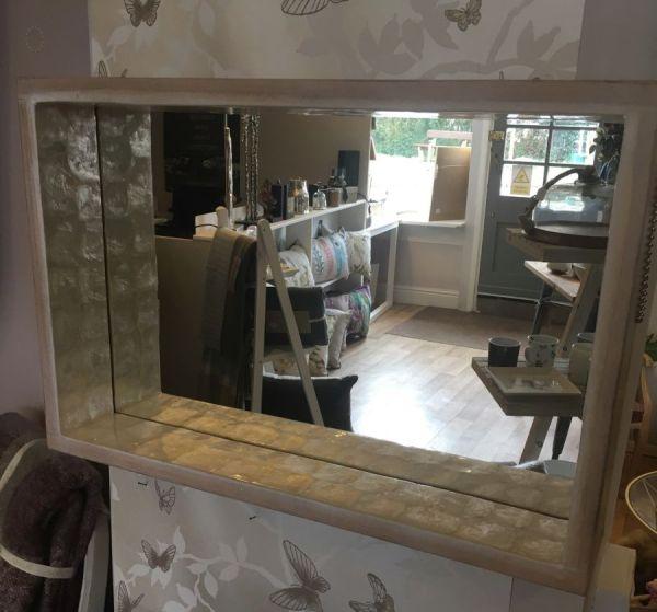Capiz And Wood Mirror