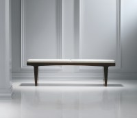 Fine Wood White Leather Bench - Ambience Dor