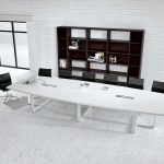 Large White Contemporary Boat Conference Table Ambience Dore