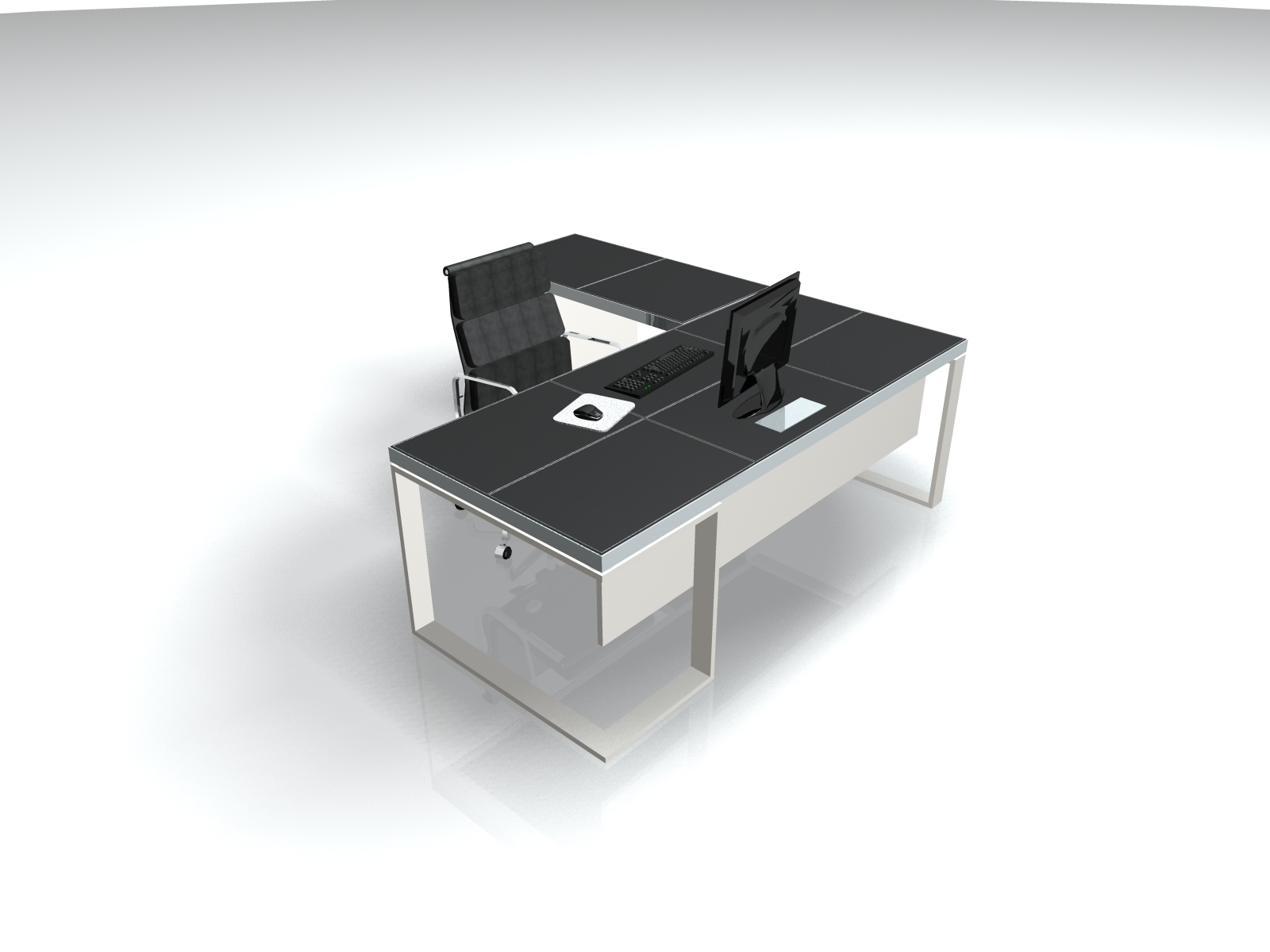Black Leather Metal Executive L Shaped Desk  Ambience Dor