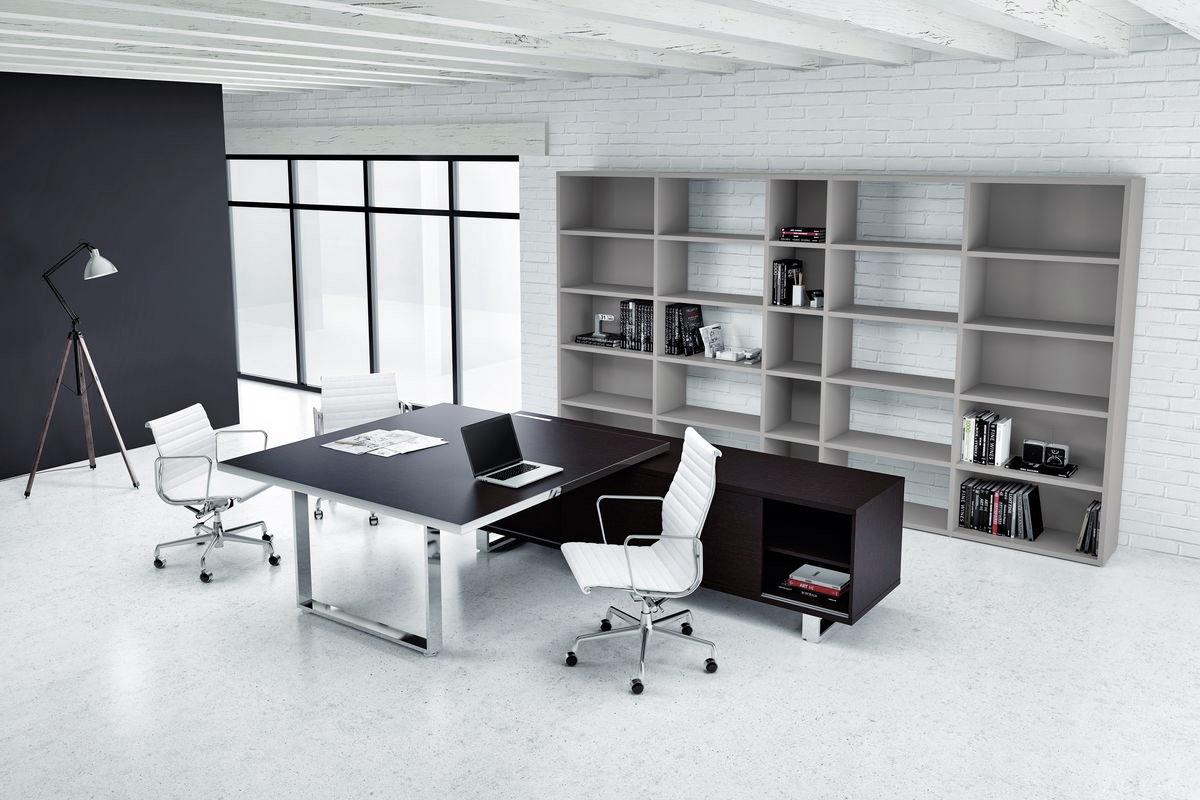 Black Executive Chrome Modern Desk  Ambience Dor