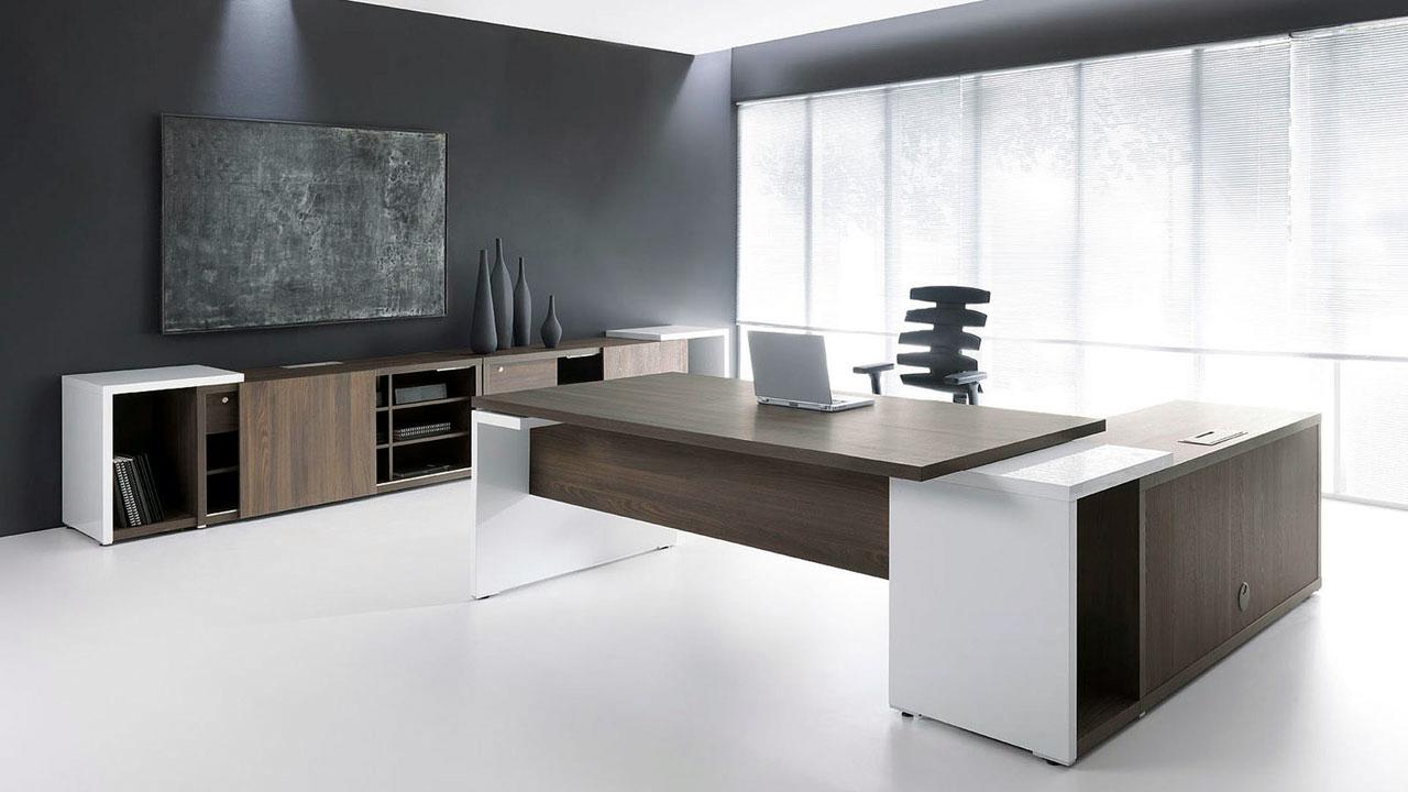 Ultra Modern White Espresso Desk  Ambience Dor