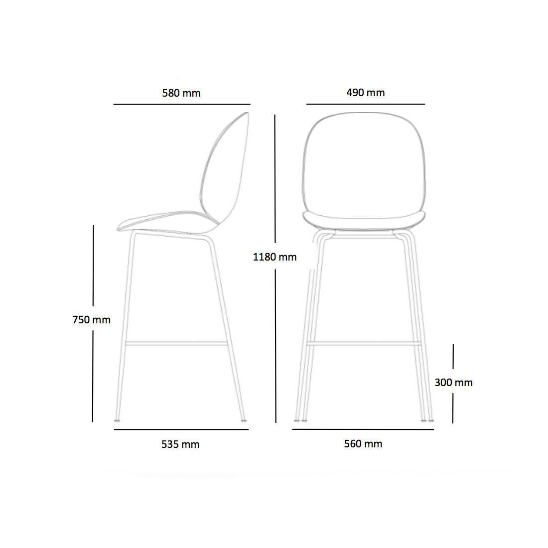 Beetle Bar Chair Barhocker Schwarz 118cm
