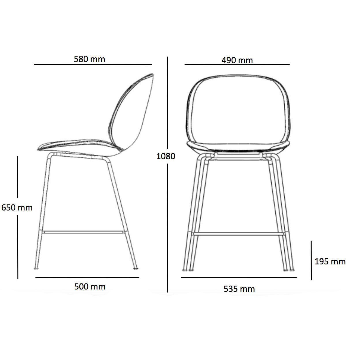Beetle Counter Chair Barhocker Messing 108cm