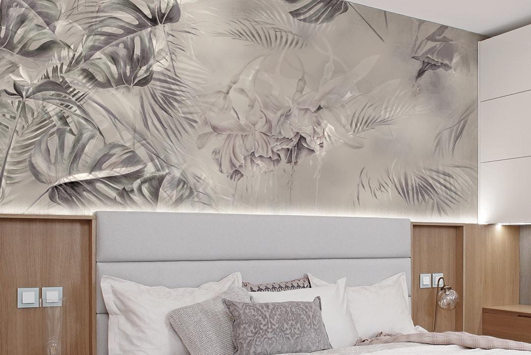 Decorazione parete camera da letto con carta da parati effetto acquerello. Carta Da Parati Di Design Per La Camera Da Letto Ambientha
