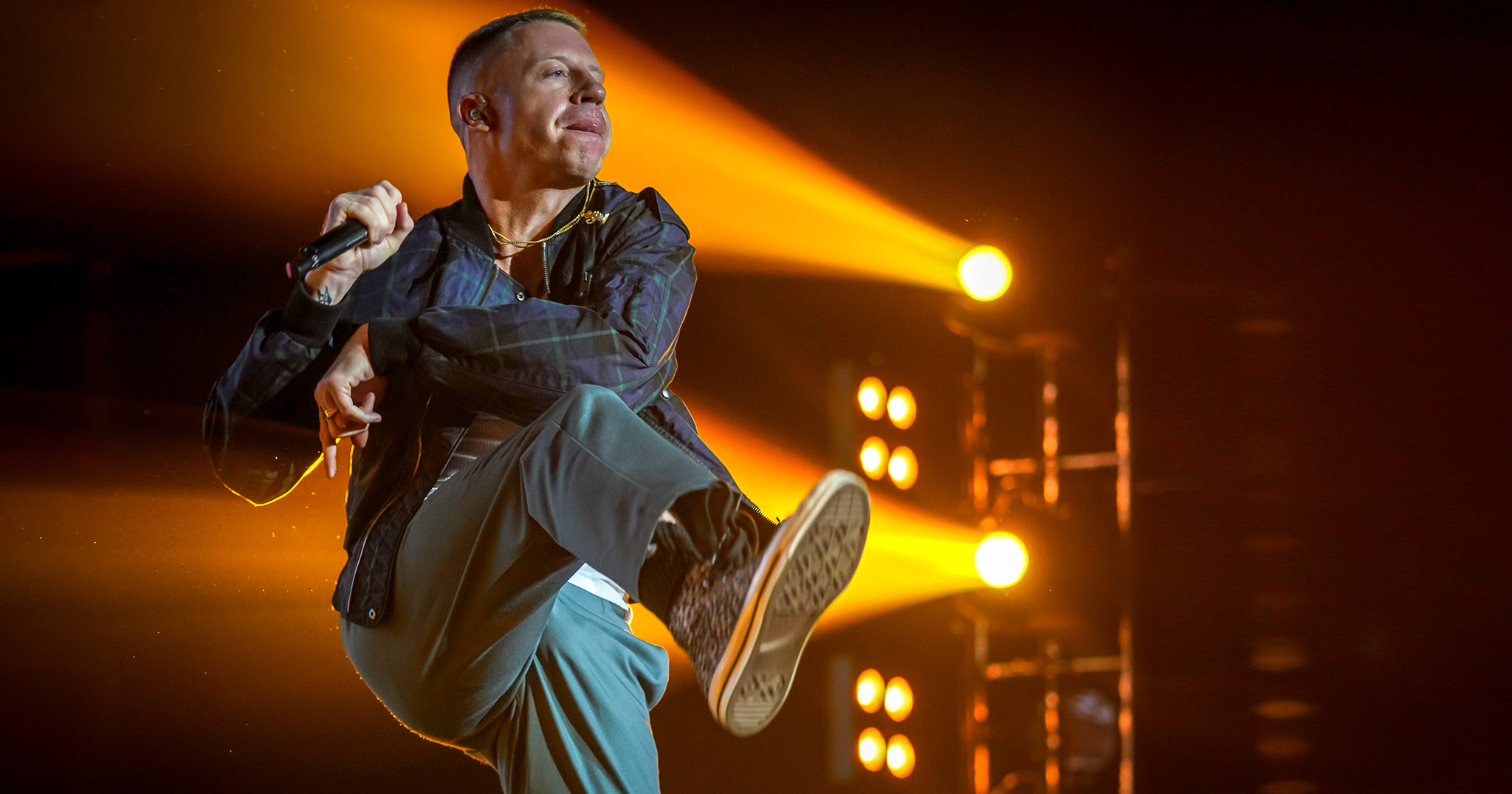Macklemore performing live in Auckland, New Zealand 2018. Image by David Watson Photography.
