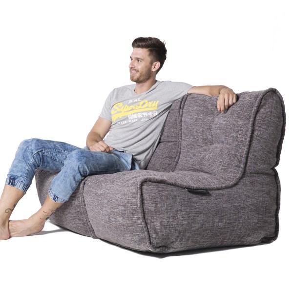2 Seater Gery Sofa Designer Bean Bag Couch Grey Fabric Australia