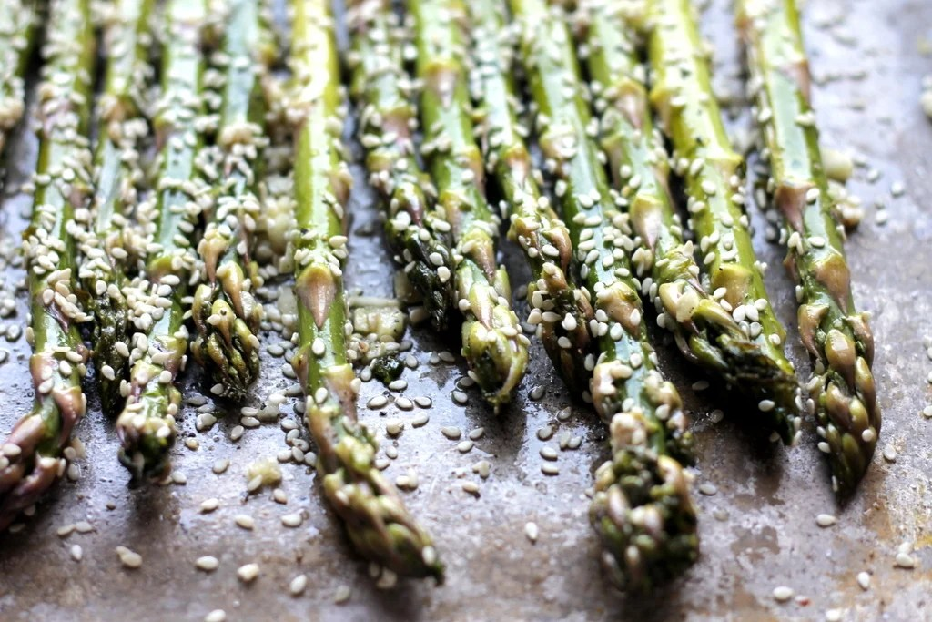 Ambitious Kitchen's Sesame Garlic Roasted Asparagus